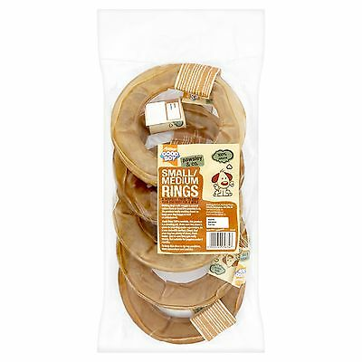 """5 x Rawhide 6"""" Pressed Ring Natural Dog Chew Treats Great Quality Hide Rings"""