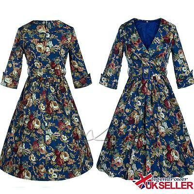UK Womens Ladies Floral Vintage 1950s Rockabilly Retro Formal Party Swing Dress
