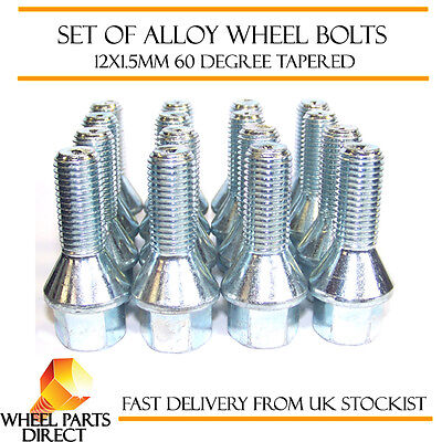 Alloy Wheel Bolts (16) 12x1.5 Nuts Tapered for Renault Clio [Mk3] 05-14