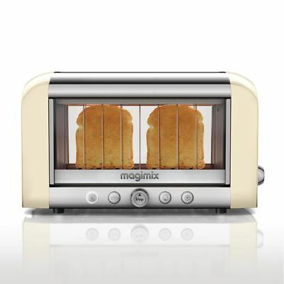 Magimix 2 Slice Vision Toaster Bread Baguettes Tray Kitchen Cream 1.45Kw