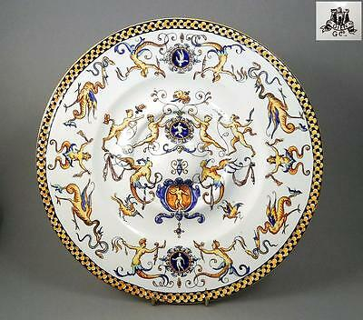 Antique hand painted 29cm French faience plate charger, early Gien mark c.1860
