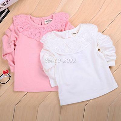 Toddler Girl Baby Solid Tee Shirt Ruffled Lace Blouse Kid Cotton Top Clothes