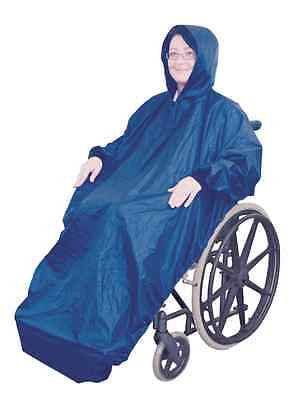 Fully Fleece Lined Wheelchair Rain Cover Mac with Sleeves Waterproof
