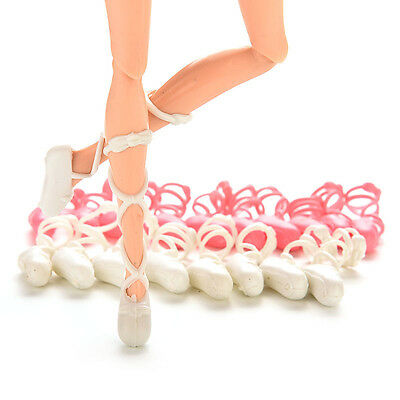 10 Pairs Mixed Colors Fashion Dolls Ballet Shoes For Barbie Bind-type Toe GF