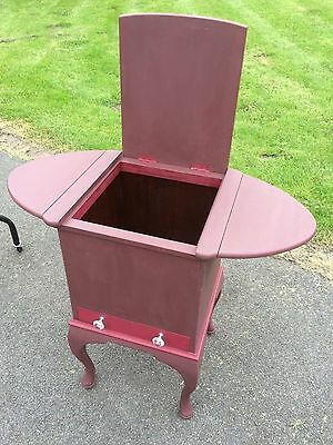 Old Solid Wood Unusual Table / Box / Cabinet Drop Leaf with Drawer Shabby Chic