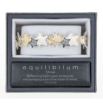 Equilibrium Ladies Tri-Coloured Stars Silver Plated Full Wrap Bracelet