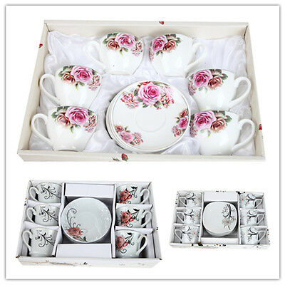 Vintage Flower Floral Victorian Retro Tea Coffee Cups Saucers Set of 6 Christmas