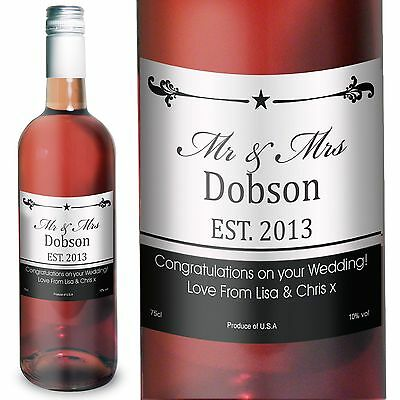 Personalised Established Mr & Mrs Rose Wine - Ideal for Couples, First Christmas