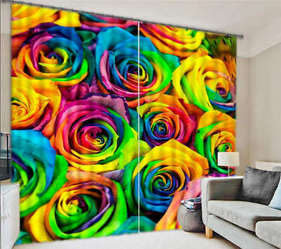 Rainbow Colorful Roses 3D Curtain Blockout Photo Curtain Print Home Window Decor