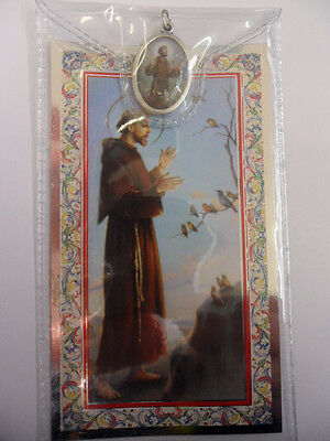 Prayer card and medal in plastic wallet. Saint St.Francis of Assisi
