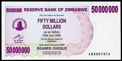 ZIMBABWE 50 Million Dollars 2/4/2008 P-57 UNC uncirculated banknote