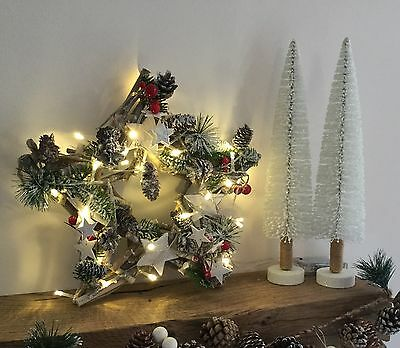 Gisela Graham Star Driftwood Garland with LED Light up Pinecone Holly Berry