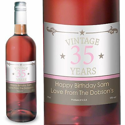 Personalised Rose Wine Vintage Birthday - An Ideal Birthday Gift For Mum or Dad