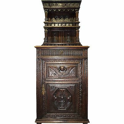 Early American 18th Century Court Cabinet, Dark Oak