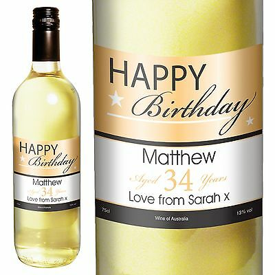 Personalised White Wine - Happy Birthday Gifts - For Her, For Him, Mum, Dad