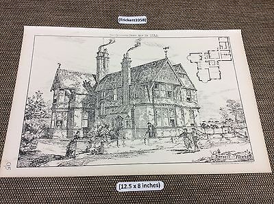 1884 Antique Architects print - Horsell Vicarage , Building news original