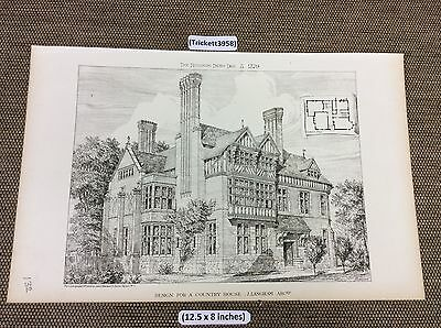 1879 Antique Architects print - Design for a Country  House   - building news