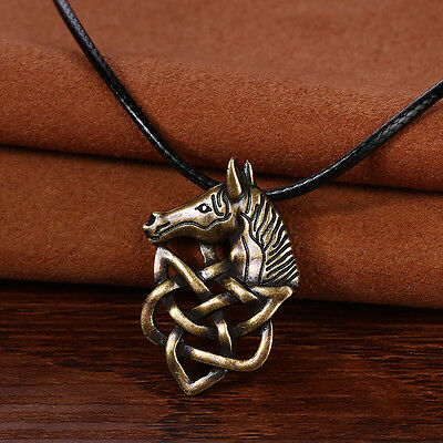 Vintage Bronze Plt Celtic Knot Horse Pendant Necklace Viking Norse Slavic
