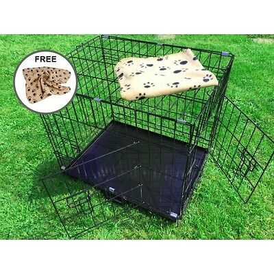 "AVC (Small/Medium) 24"" Metal Pet Dog Cat Transport Training Cage inc FREE Bed"