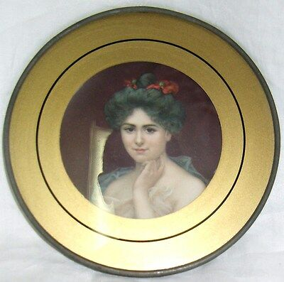 Vintage Antique Glass Chimney Flue Cover with Picture Victorian lady with hanger