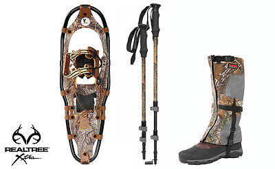 Yukon Charlie's Aluminum Snowshoes(up to 250lbs) Wood Camo w/poles& L/XL gaiters