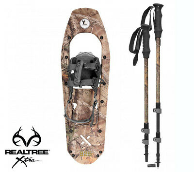 Yukon Charlie's REALTREE Xtra Molded Snowshoes(up to 200lbs) Wood Camo w/poles