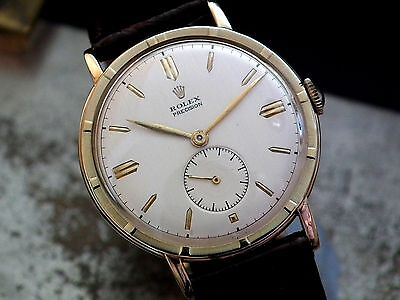 Stunning 1954 Oversize Steel & Solid Gold Rolex Precision Sub-Second Gents Watch
