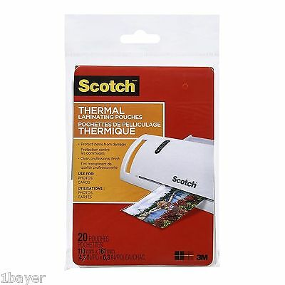 """Scotch Office Warehouse School Thermal Laminating Pouch 4.3x6.3"""" 5-Mil (20pc)"""