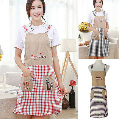 Women Cute Bowknot Apron Kitchen Restaurant Cooking Bib Aprons with Pockets New