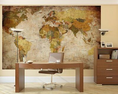 Mega World Map Large Antique Wall Mount Old Earth Picure Home Vintage Decoration