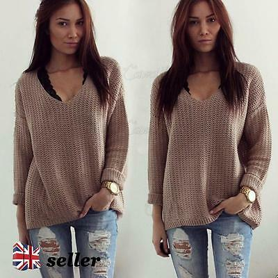 UK Womens Long Sleeve V Neck Knitwear Sweater Ladies Casual Jumper Pullover Tops