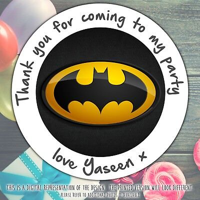 Personalised BATMAN HERO Birthday Party Sweet Cone Gift Bag Sticker Label Seal