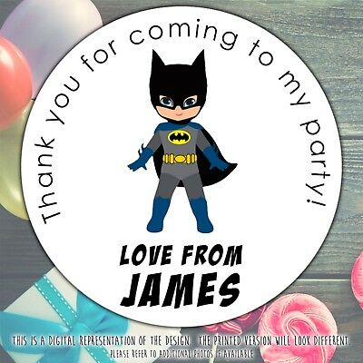 Personalised BATMAN Birthday Party Sweet Cone Gift Bag Sticker Label Seal