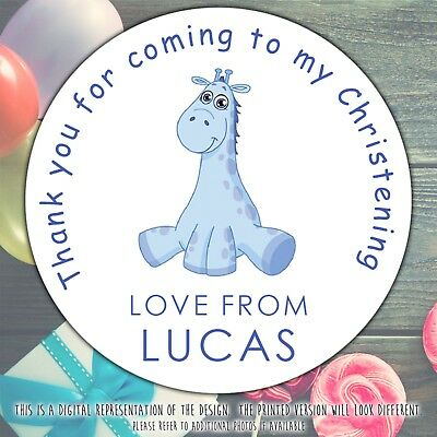 Personalised BLUE GIRAFFE Christening Party sweet cone gift bag sticker label