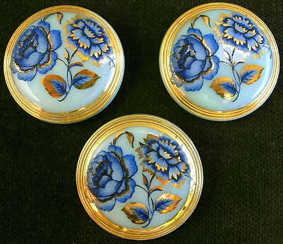 3 Czech Unique Glass Buttons #G329 - FLOWERS with GOLD!!!