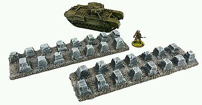 WARGAMES Scenery Terrain 28mm resin Tank Traps Bolt Action Warhammer 40k PAINTED