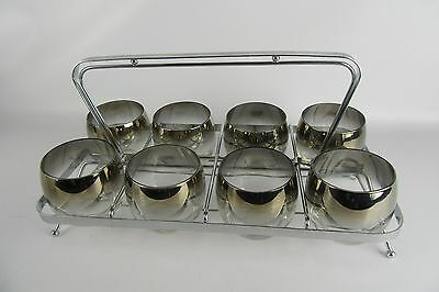 Mid-Century Dorothy Thorpe Roly Poly Glasses Silver Fade Set Of 8 With Caddie