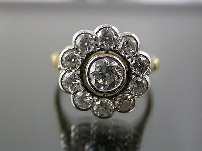 VINTAGE 18ct GOLD 2.1ct DIAMOND DAISY CLUSTER RING