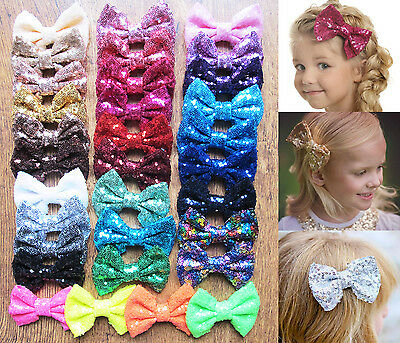 "4"" New Girls Sequin Glitter Sparkle Hair Bow Clip Pin Accessories"