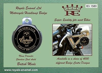 Royale Car Motorcycle Headlamp Badge - AJS CADWELL OWNERS CLUB GB - B3.1580