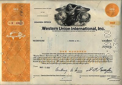 Western Union International Stock Certificate