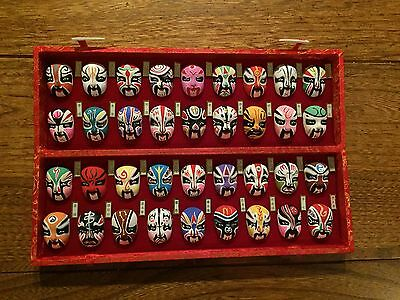 Chinese Beijing miniature hand painted opera masks-set of 36