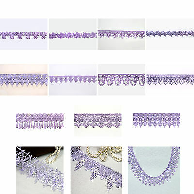 """5/8"""",3/4"""",1"""",1.25"""",1.75"""",2"""", 2.5"""", 3"""",3.25"""" Embroidered Lilac Venice Lace Trim"""