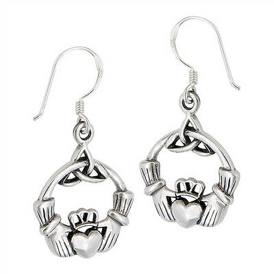 Celtic Treasures Irish Claddagh Earrings Sterling Silver Jewelry Made in USA