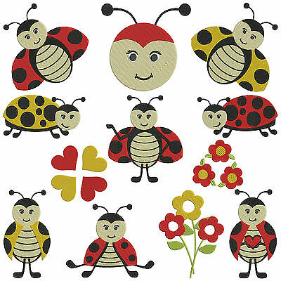 * LADYBUGS * Machine Embroidery Patterns  * 12 Designs in 3 Sizes