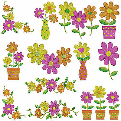 ** DAY DAISY ** Machine Embroidery Patterns * 12 designs, 3 sizes