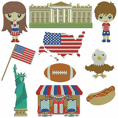 * AMERICA 1 * Machine Embroidery Patterns * 10 designs in 2 sizes