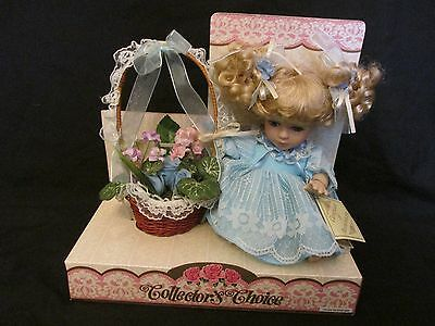 Brand New Beautiful Collector's Choice Porcelain Doll with Flower Basket 993049