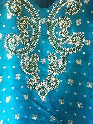 Green Gold Pearl Design Salwar Kameez Stiched Suit Size L