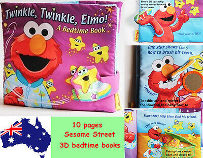 Sesame Street Twinkle Elmo A Bedtime Baby Toddler Interactive Soft Cloth Book